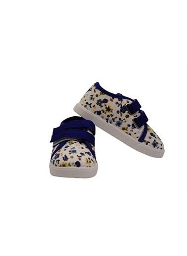 First Step Cırt Cırtlı Keten Ayakkabı Saks Mavi
